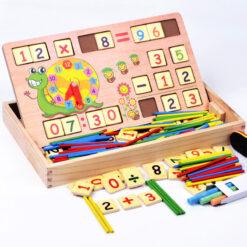 Tableau d'apprentissage multifonctionnel en bois