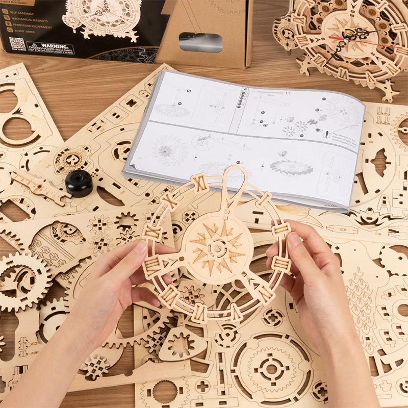 Horloge Hibou Puzzle en bois 3D Mecapuzzle 8 MECAPUZZLE